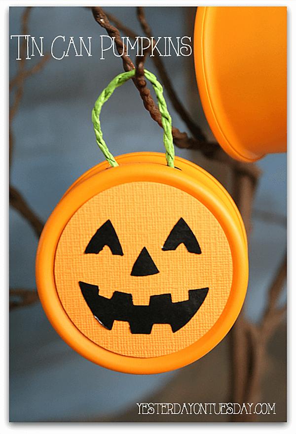 Tin Can Hanging Jack O' Lanterns