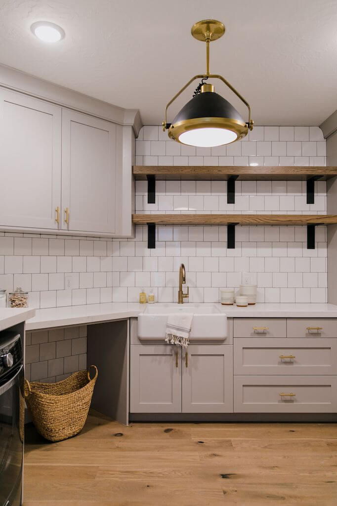 Black, Gold, and Bold Laundry Room