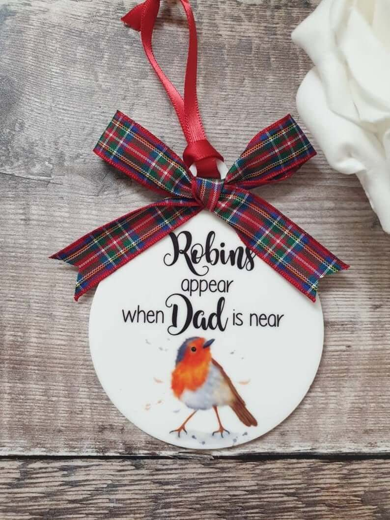 Plaid Robin Remembrance Personalised Bauble
