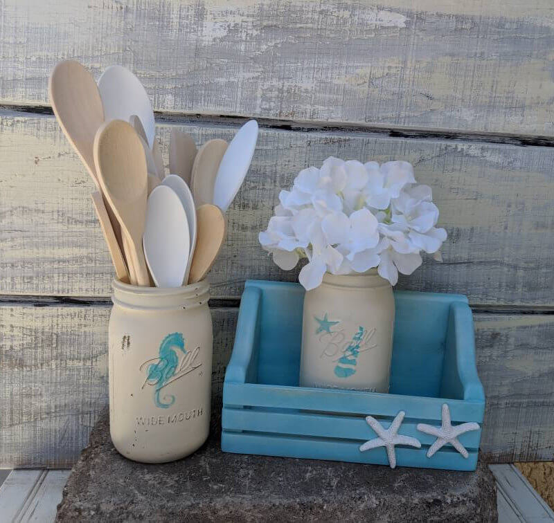 Coastal Farmhouse Mason Jar Set