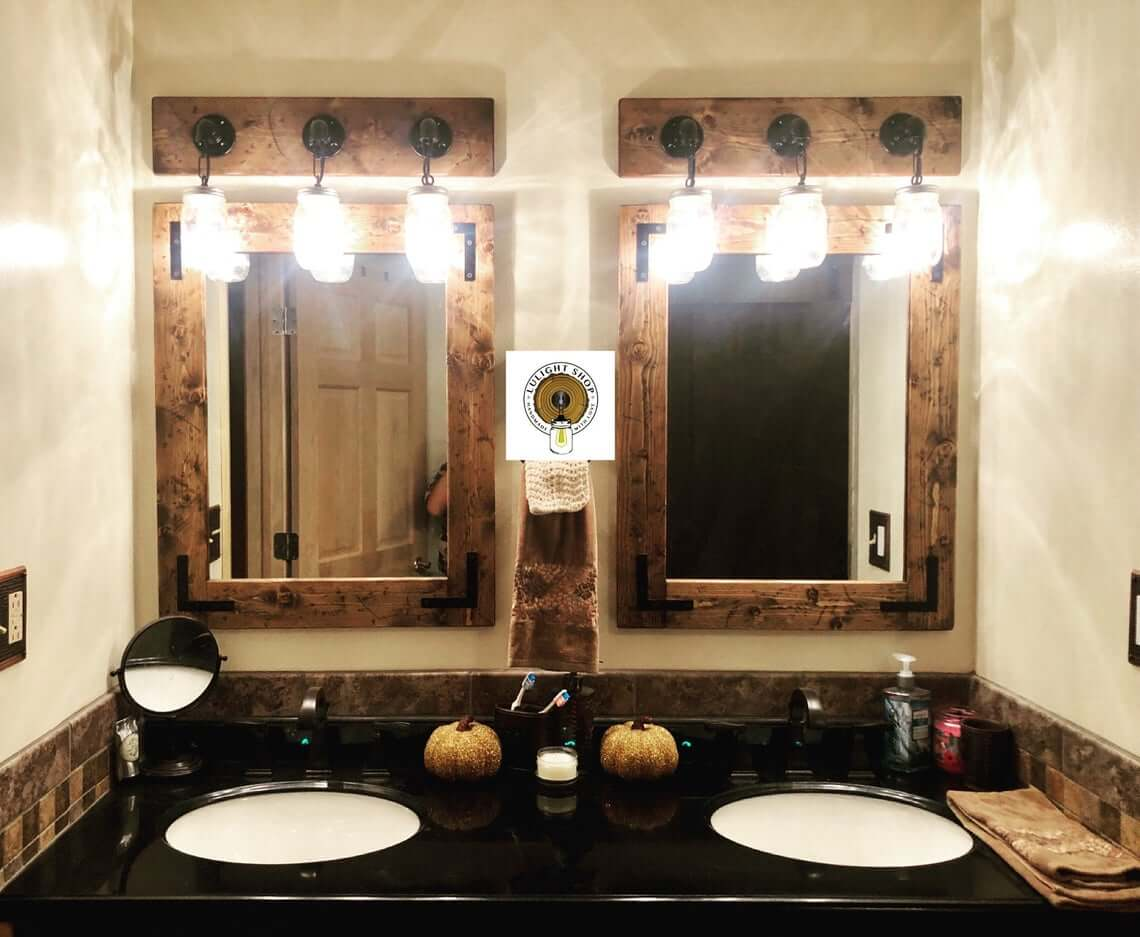 Distressed Mirror and Light Fixture