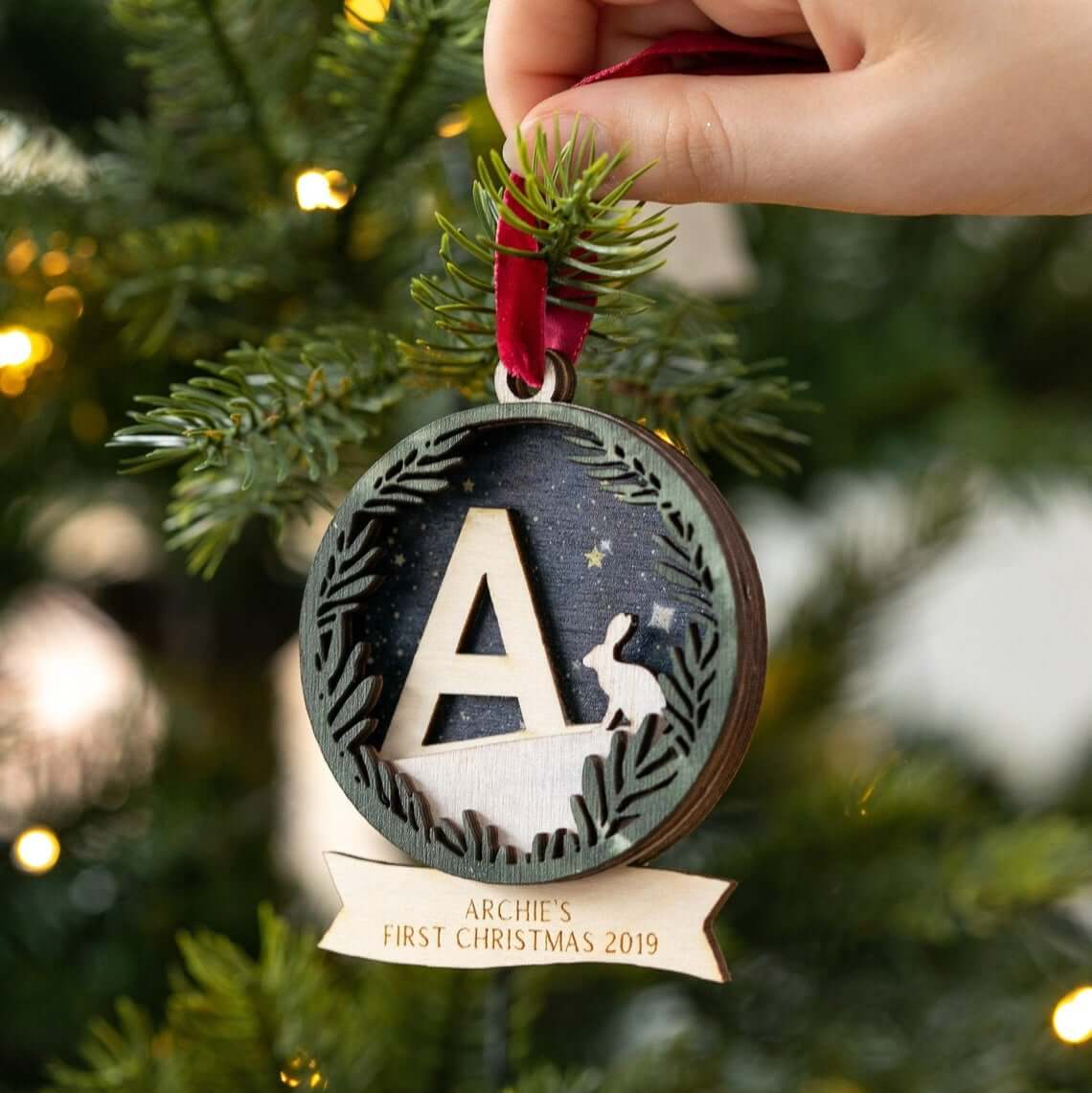 Monogram Customizable Forest Themed Bauble