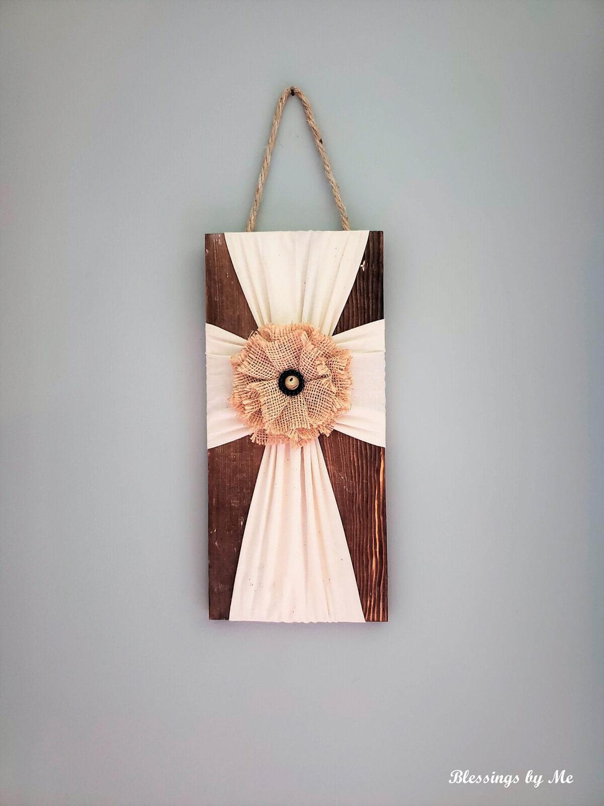 Wooden Fabric Cross Wall Décor