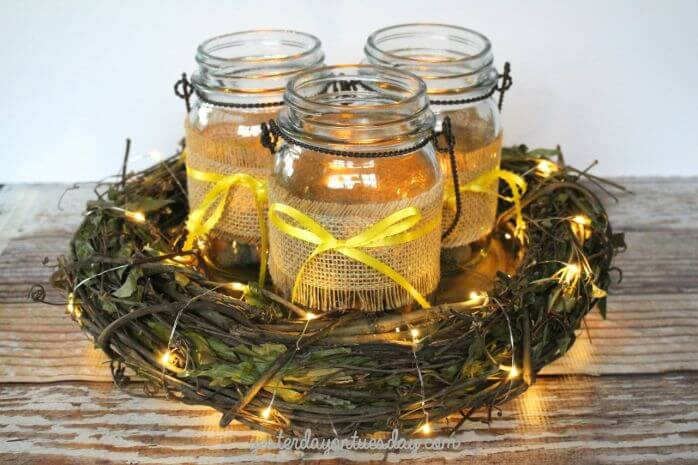 Outdoor Style Mason Jar Centerpiece