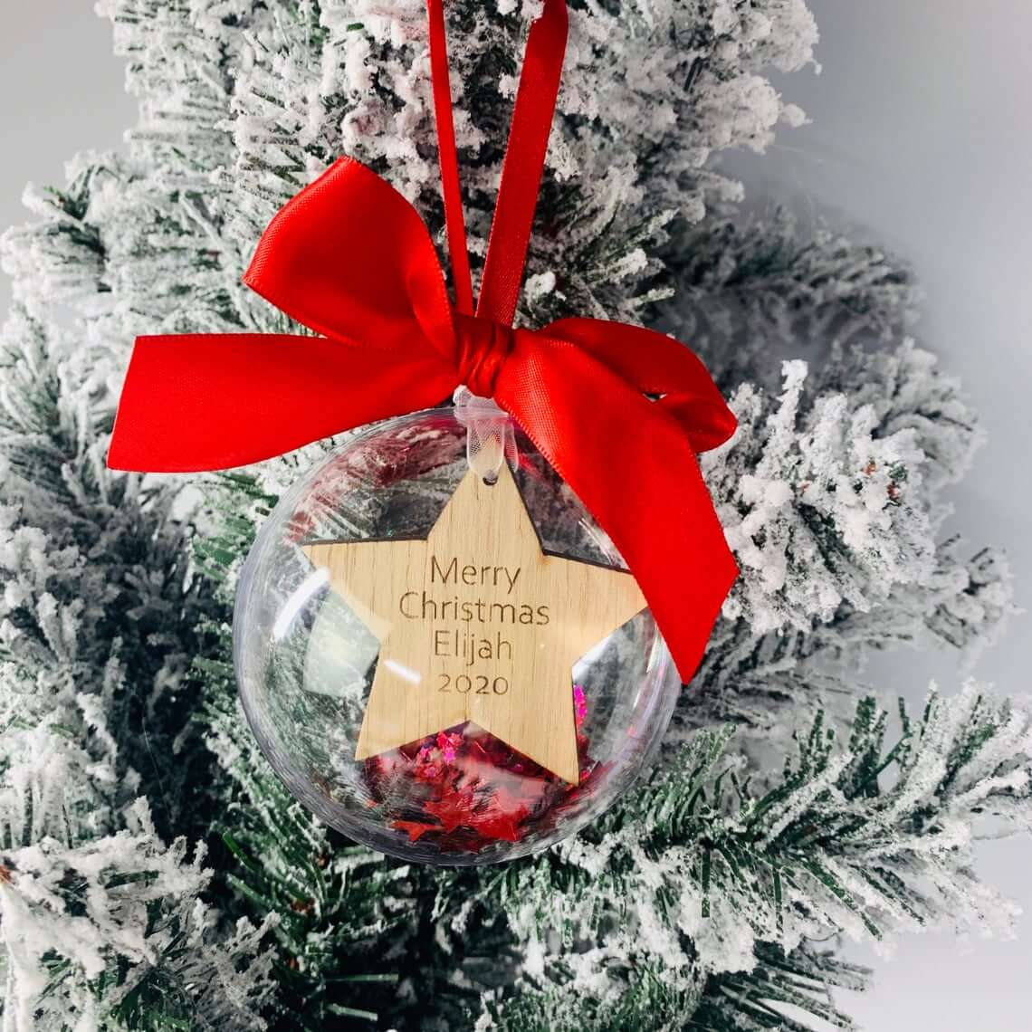 Clear Bubble Filled Star Cut Bauble