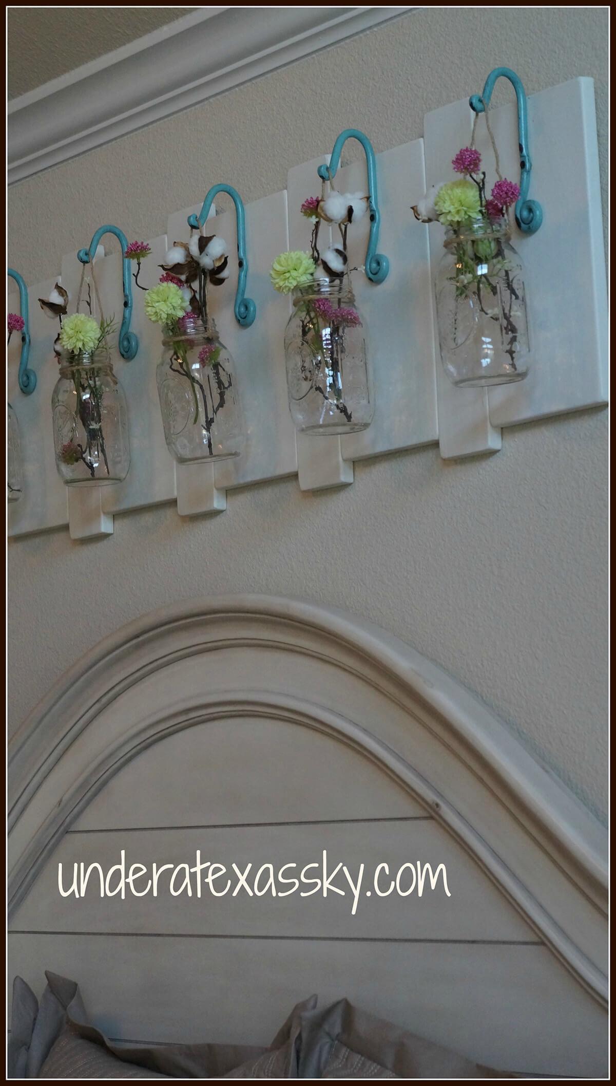 Hanging Hooked Mason Jar Vases