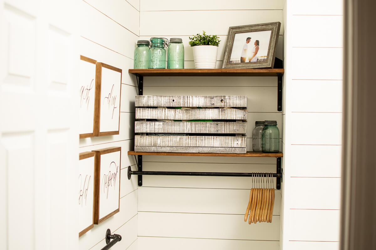 Industrial Pipe and Wood Utility Shelf