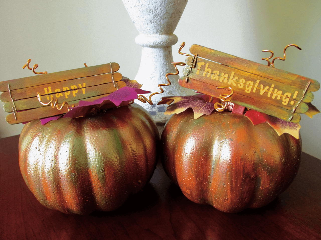 "Festive ""Happy Thanksgiving"" Painted Pumpkins"