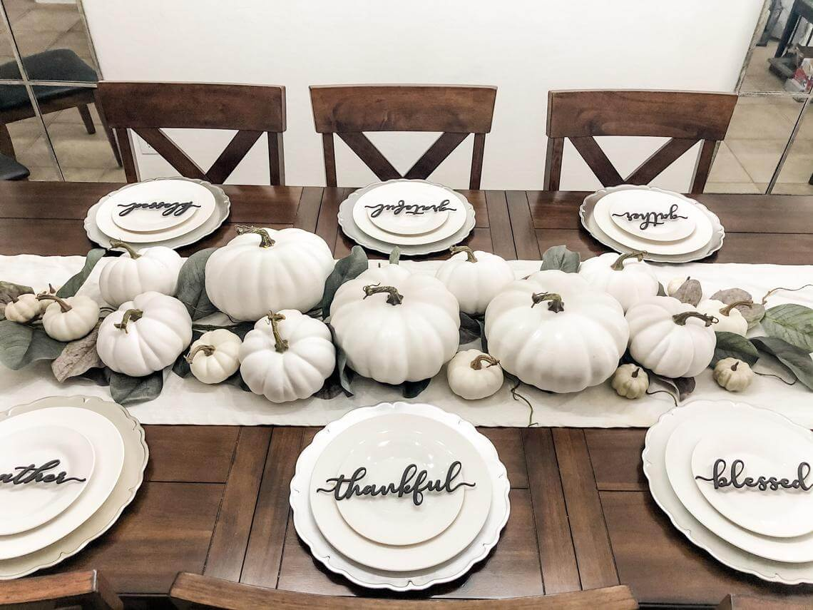 Gather, Thankful, & Blessed White Pumpkin Tablescape