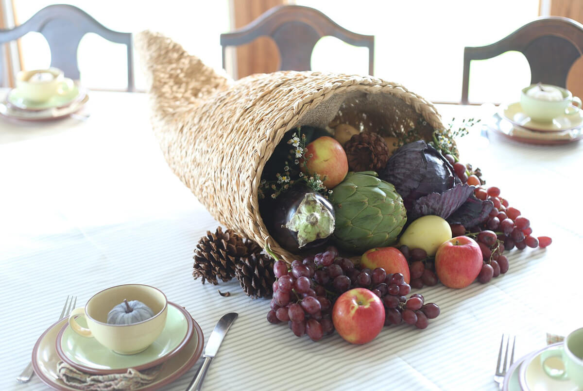 Traditional Cornucopia Thanksgiving Centerpiece Design