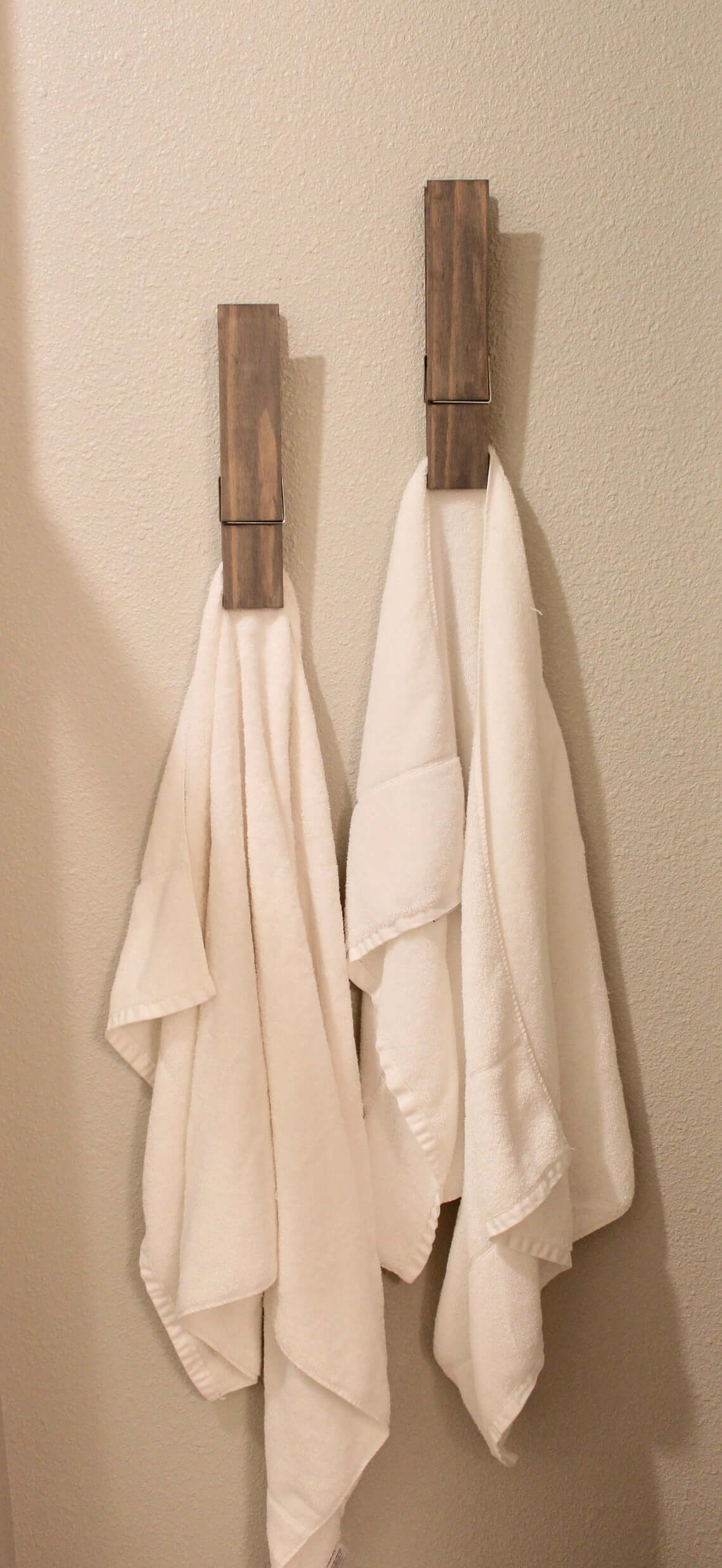 Oversized Clothespin Bathroom Towel Holders