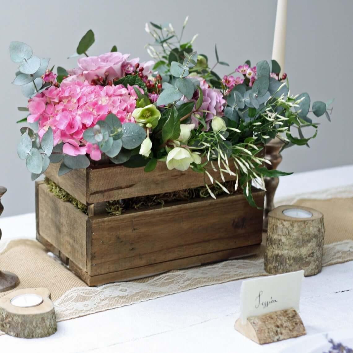 Peek-a-boo Rich Brown Wooden Slat Box