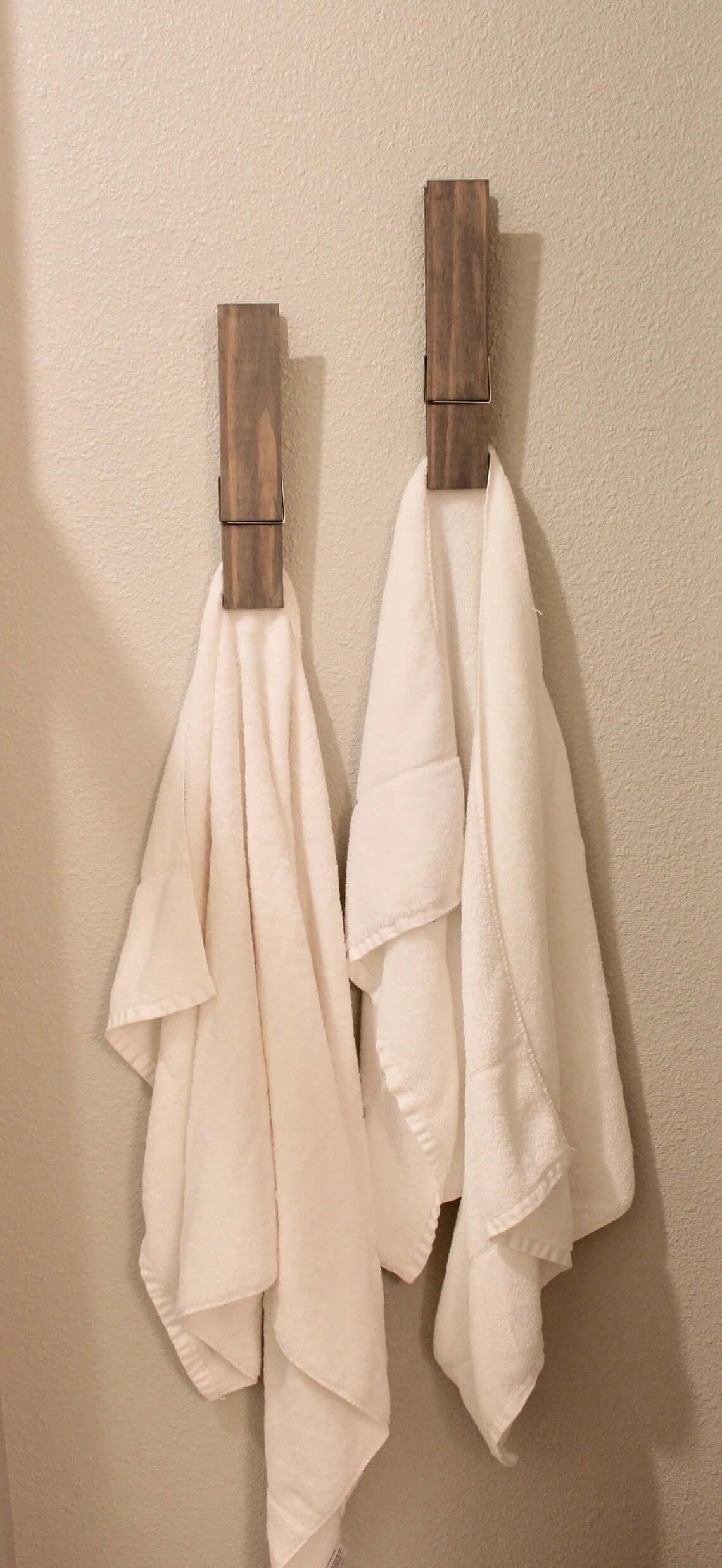 Oversized Clothespin Bathroom Towel Holders