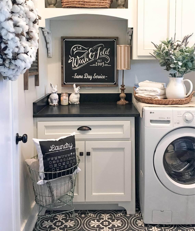 Black & White Farmhouse Laundry Room