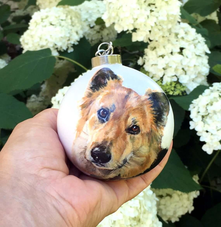 Dog Painted Pet Portrait Bauble