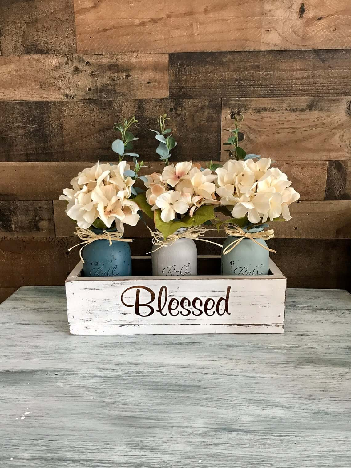 Distressed White Wooden Box of Blessings