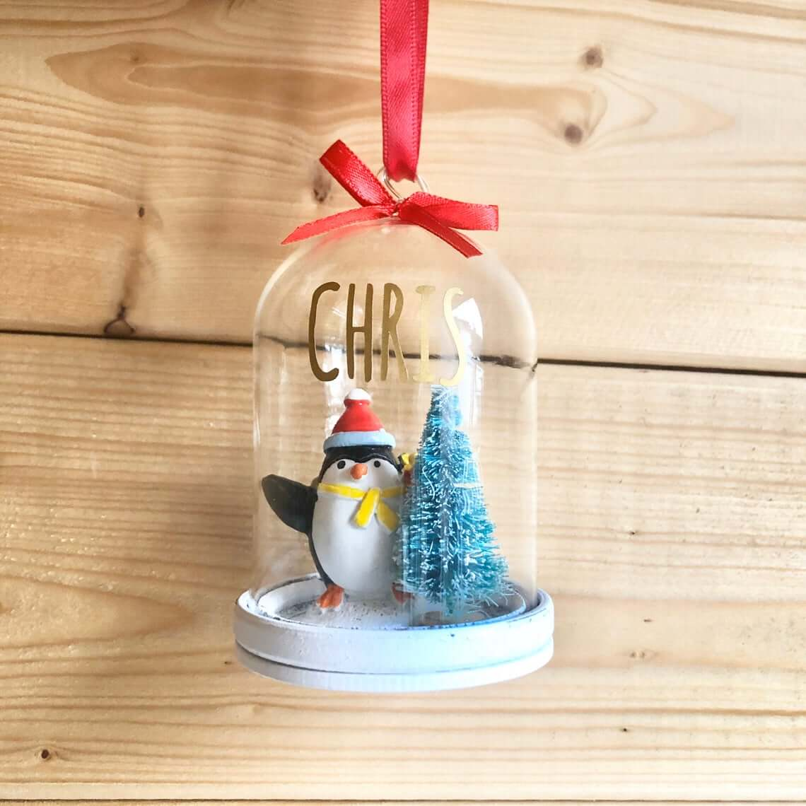 Filled Snowglobe Christmas Tree Hanging Bauble