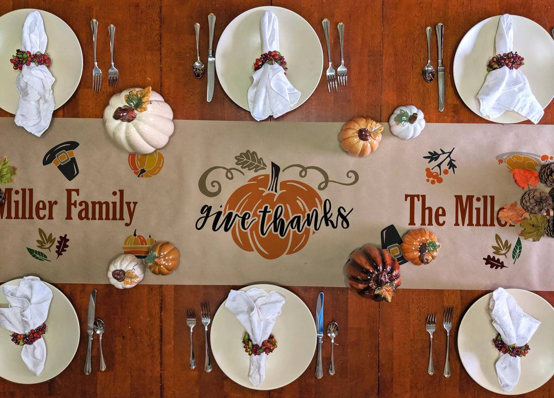Personalized Thanksgiving Give Thanks Table Runner