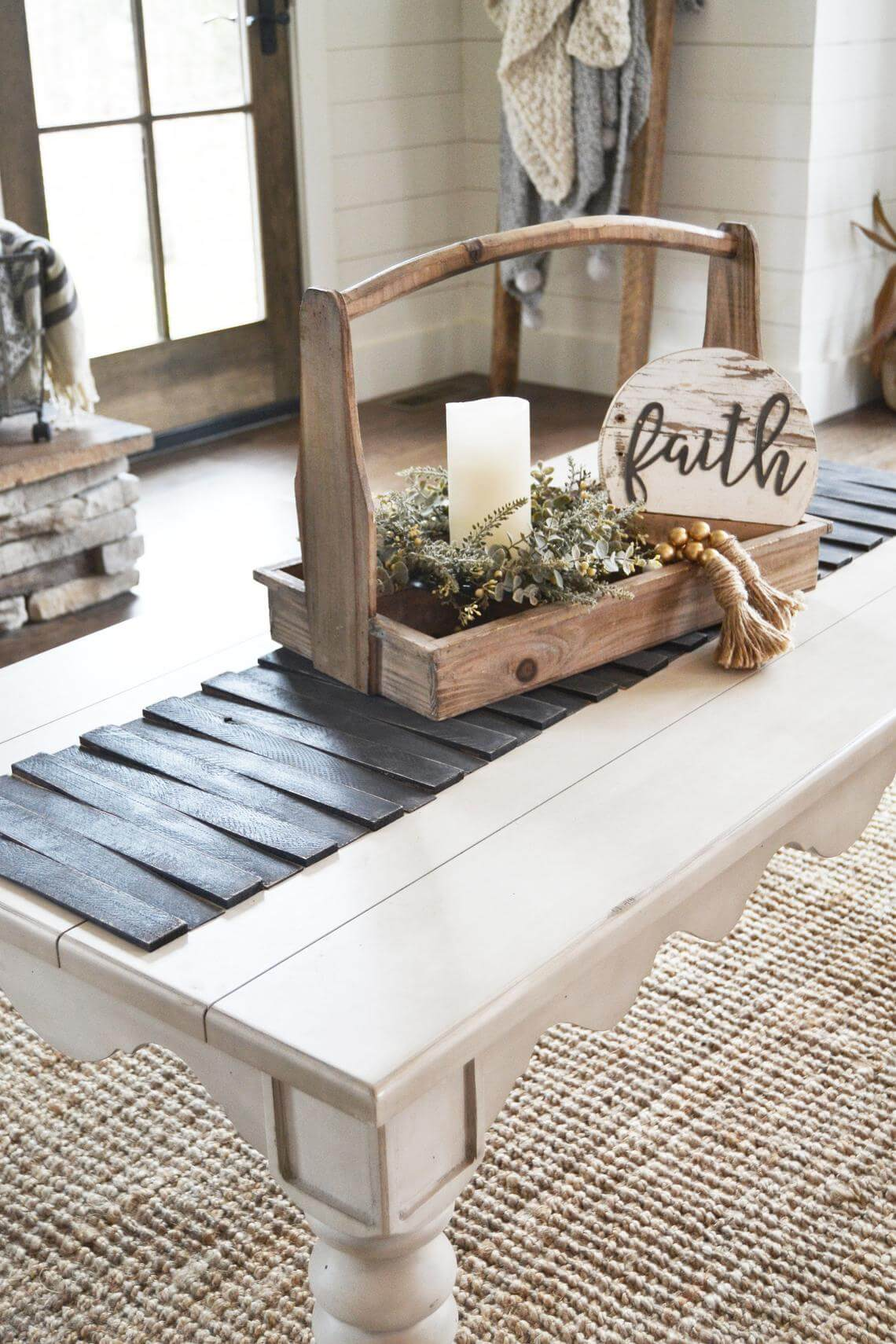 Shallow Wooden Tool Caddy Centerpiece Display