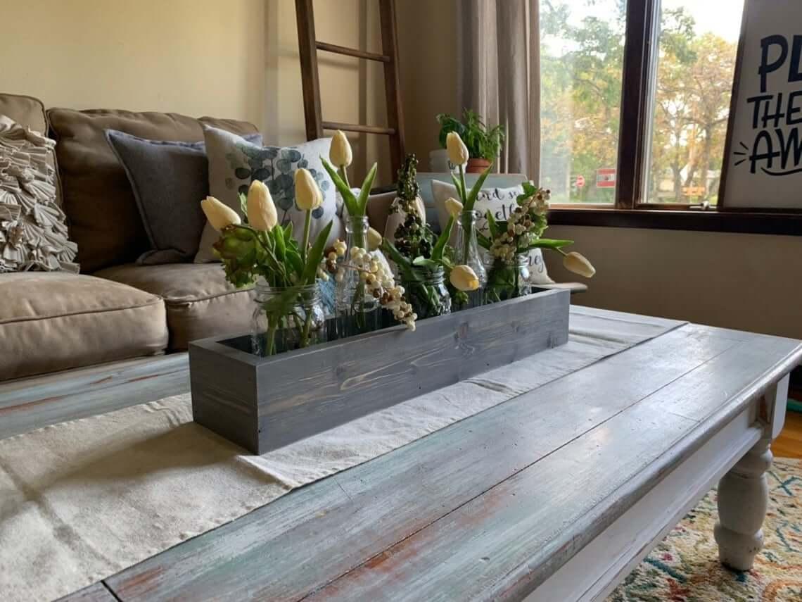 Great Gray Grains Wooden Centerpiece Box