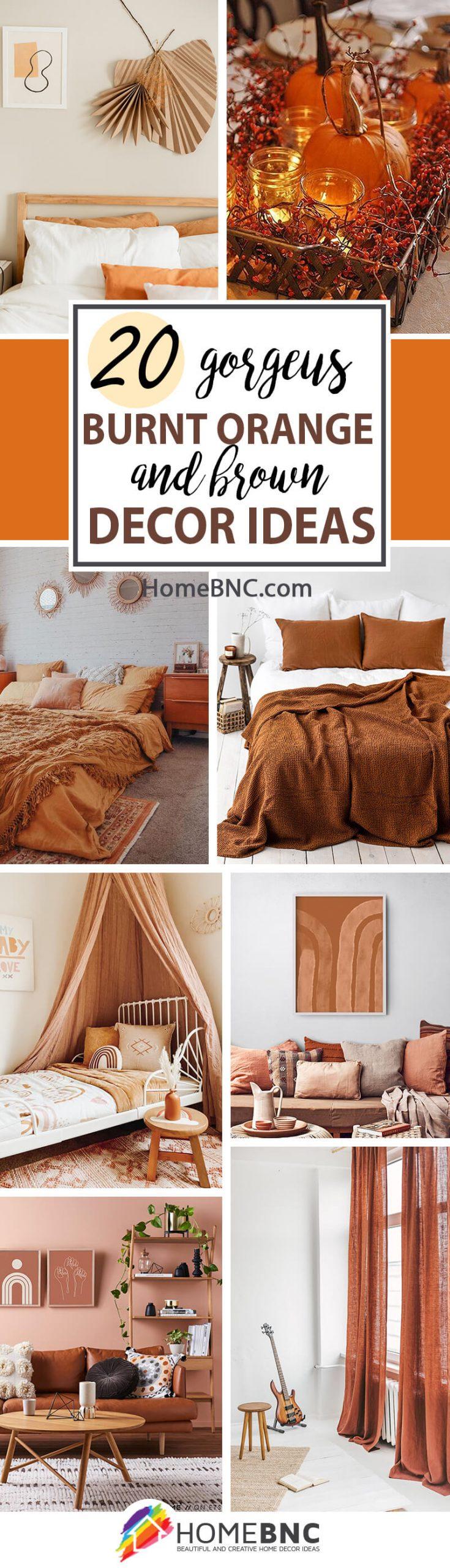 Burnt Orange And Brown Home Decor Ideas, Burnt Orange Living Room Accessories