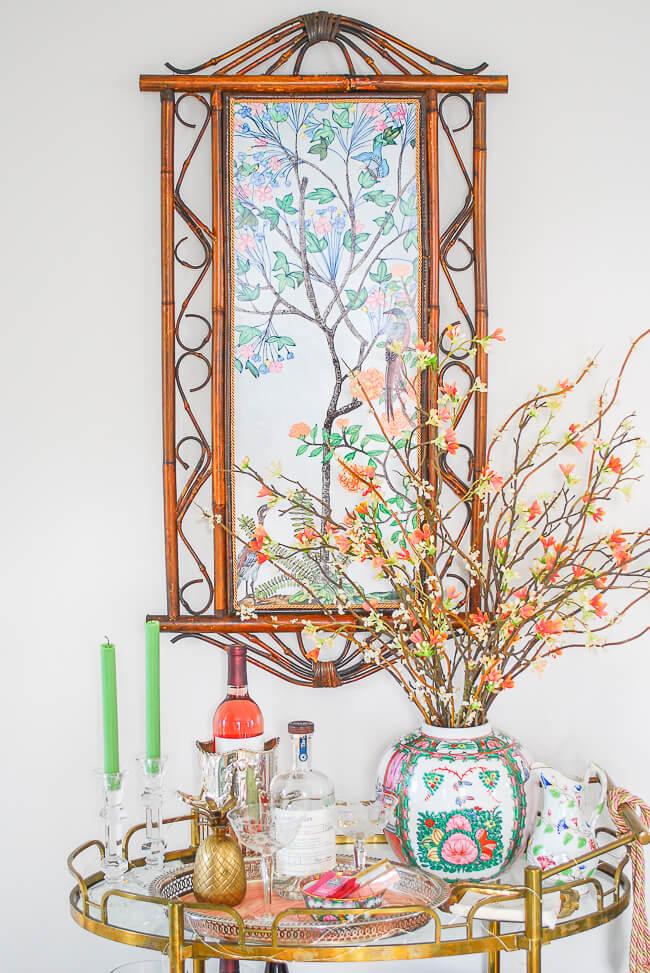 Warm Brown Bamboo Framed Oriental Print