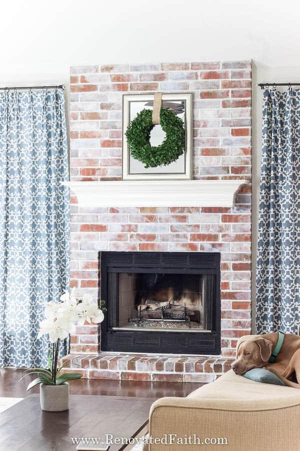 Beautiful White Washed Brick Fireplace Makeover