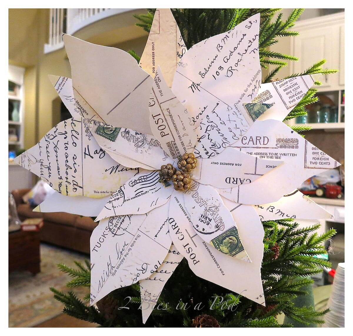 Beautiful Post Card Poinsettia Vintage Christmas Decor