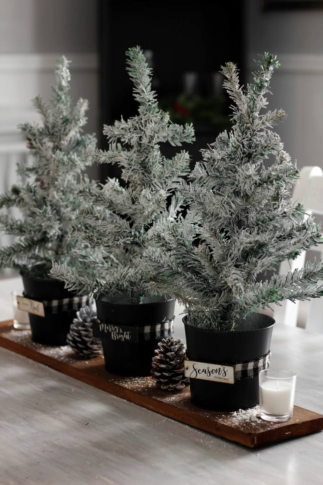 Christmas Centerpiece With Mini Rustic Trees