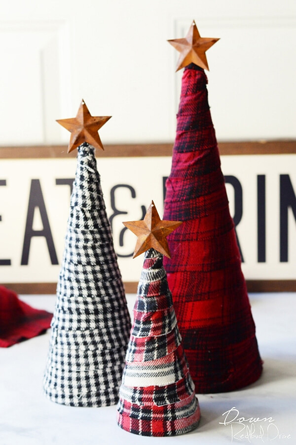 Fabric Scrap Flannel Wrapped DIY Christmas Trees