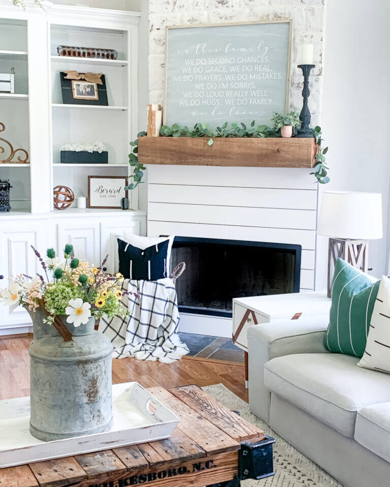 Wood and White Modern Farmhouse Fireplace
