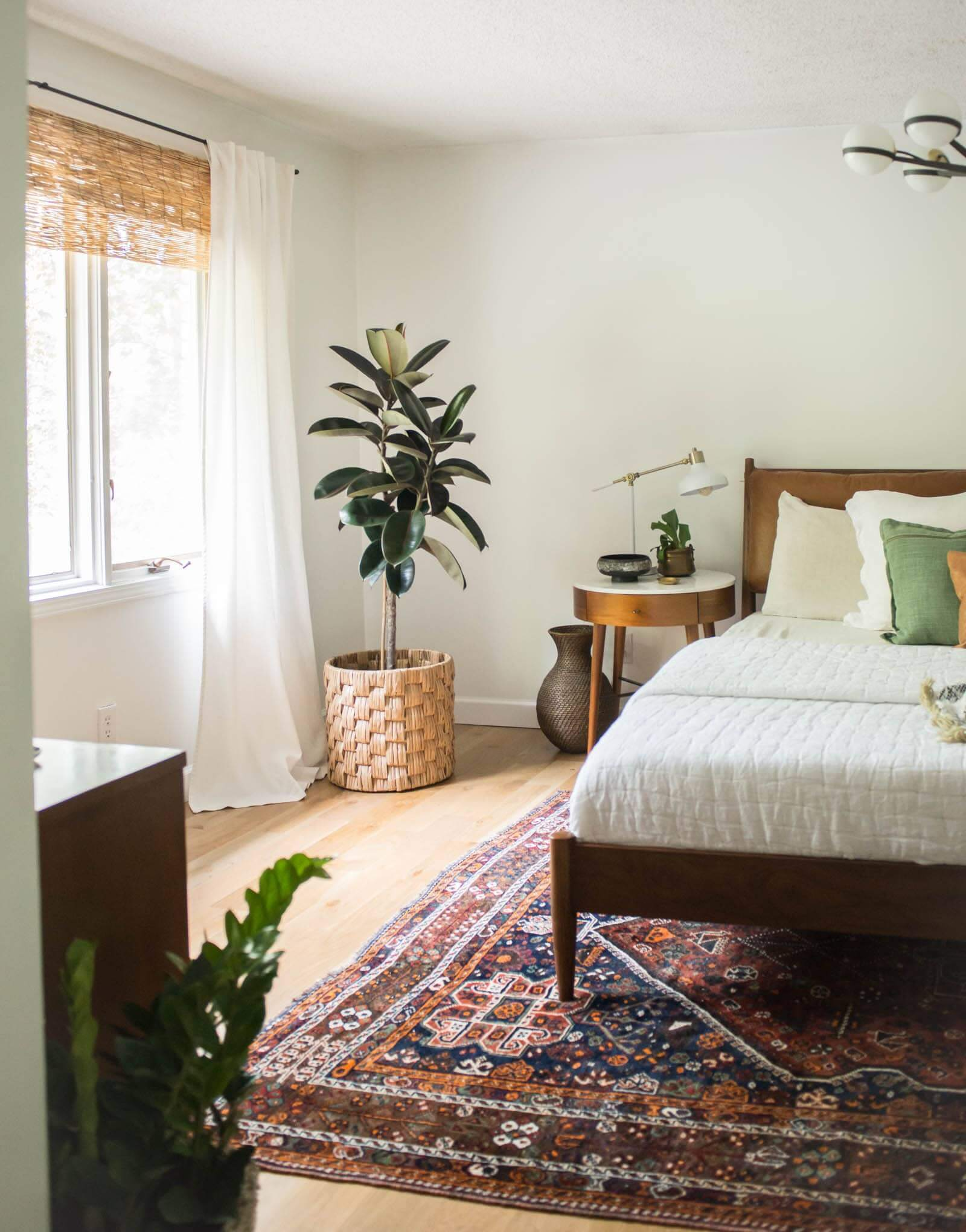 Natural Light Filtering Bamboo Blinds in Bedroom