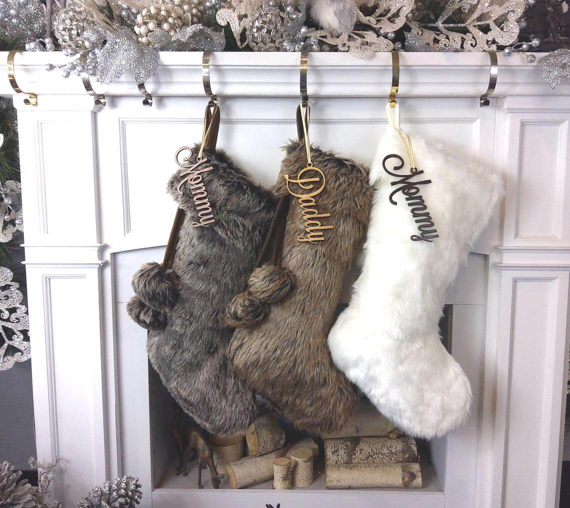 Faux Fur with Name Personalized in Wood