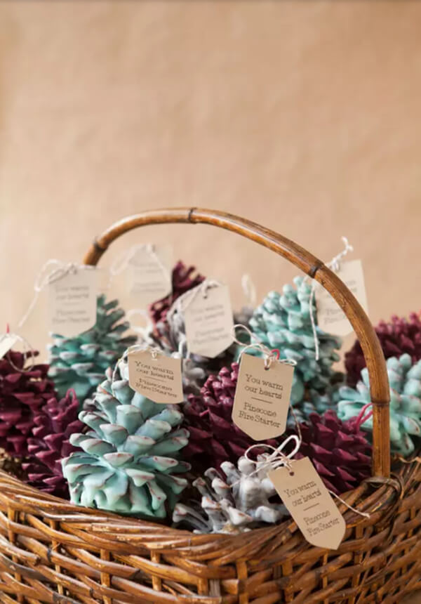 Unique Dipped Pinecone Fire Starter Favors