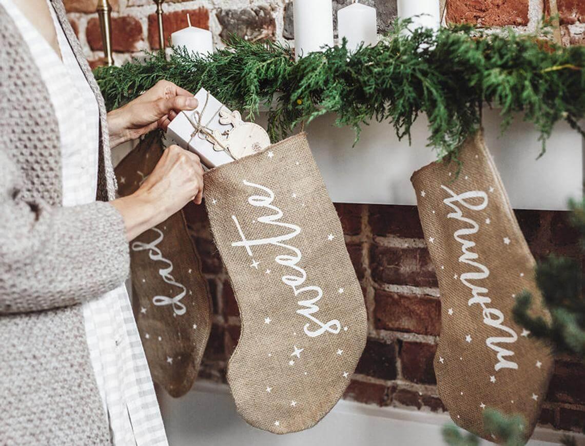 """Sweetie"" with Stars Burlap Christmas Stocking"
