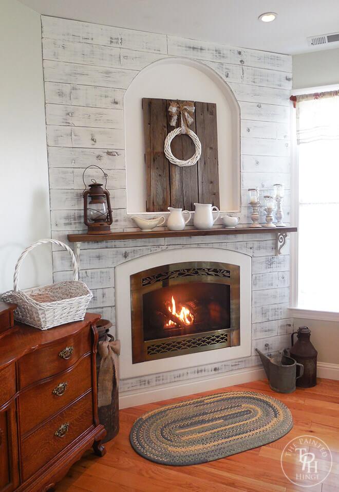 Rustic Shiplap Built-In Cozy DIY Corner Fireplace