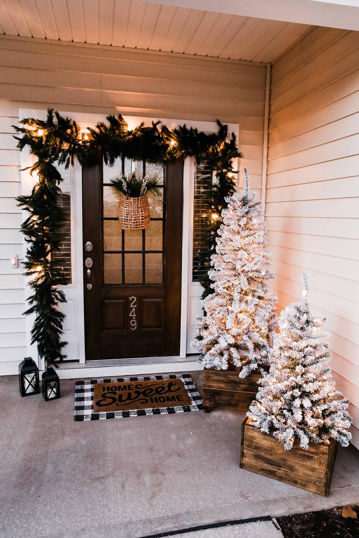 Rustic Festive Winter Light-Up Porch