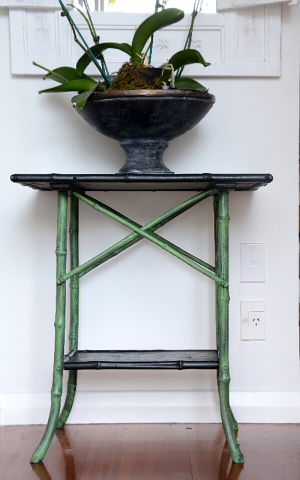 Green and Black Painted Bamboo Table