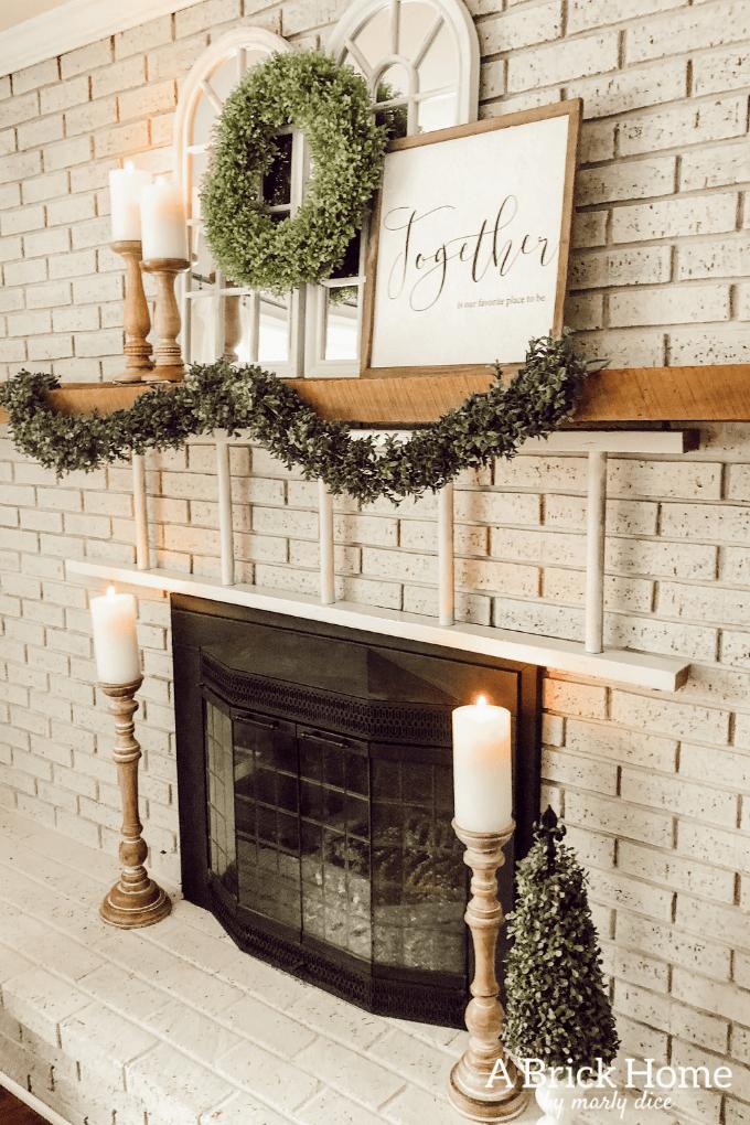 Pretty Cream Brick Fireplace with Unique Mantel