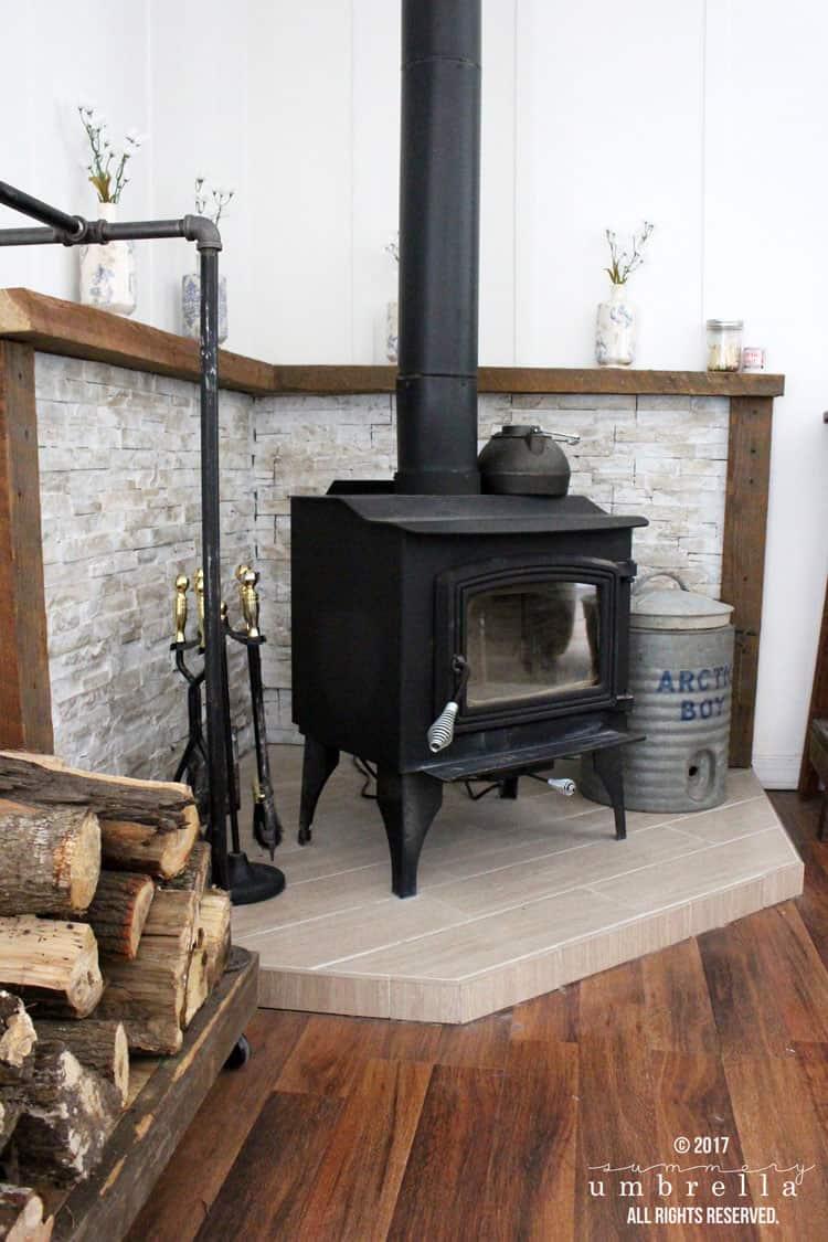 Farmhouse Style Wood Burning Stove Corner Design