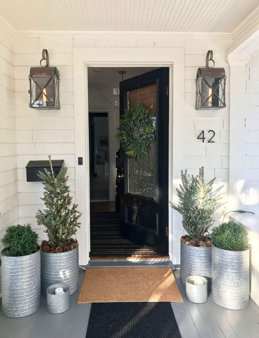 Garland Covered Plant-Themed Winter Porch