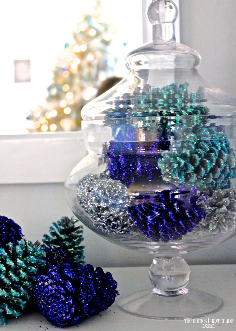 Versatile Festive Glittered Pinecone Display
