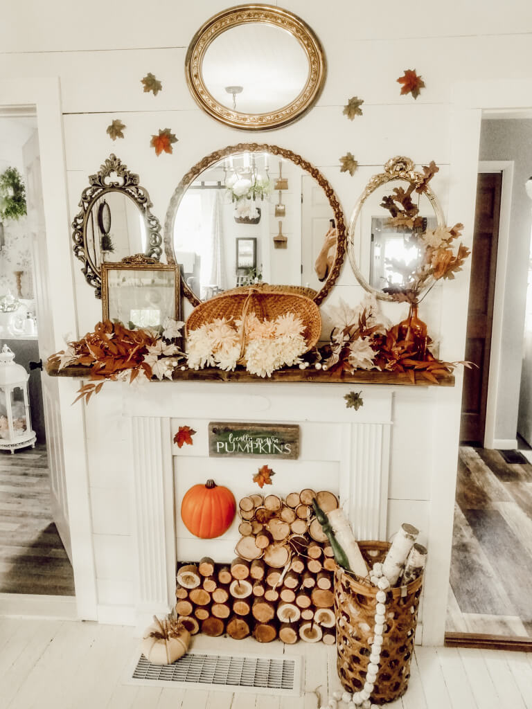 White Faux Fireplace with Lots of Logs