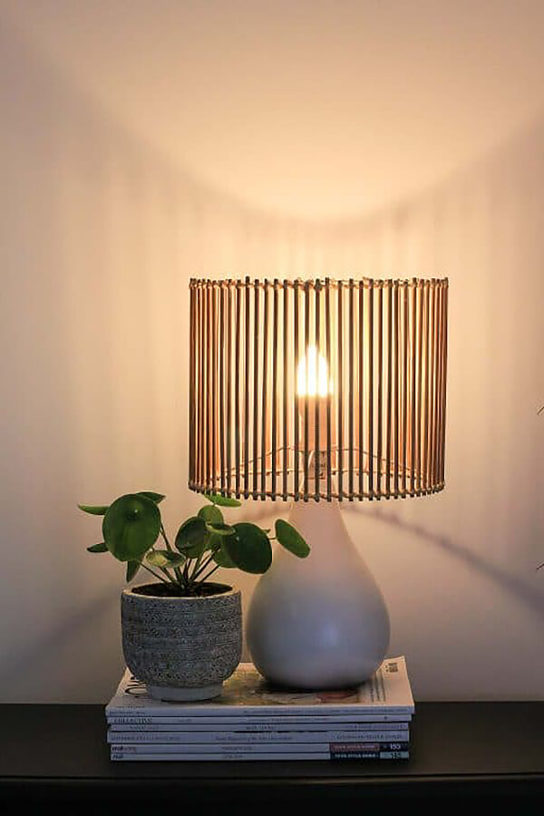 One-of-a-kind Slated Bamboo Lamp Shade