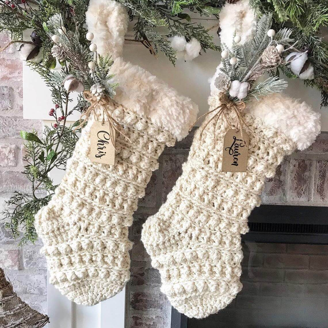 Rustic Crocheted Stockings with Greenery Included