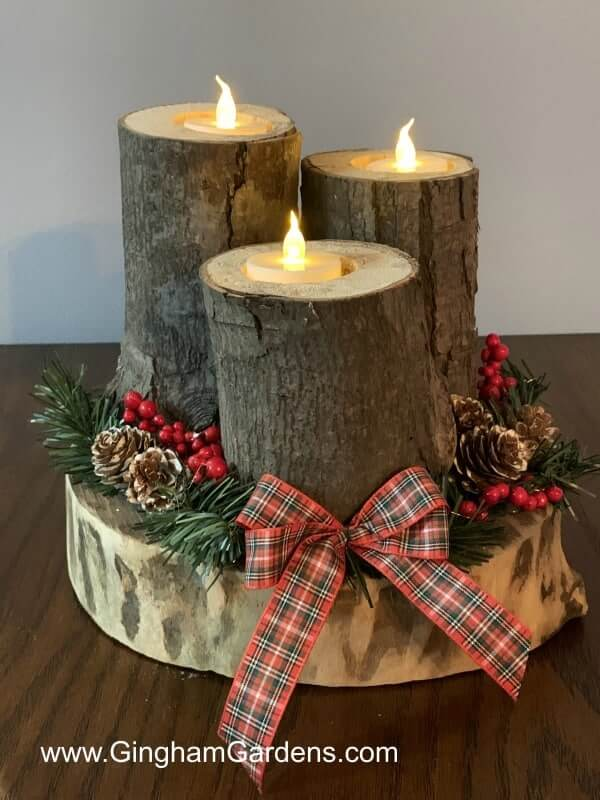 Rustic DIY Woodland Christmas Centerpiece