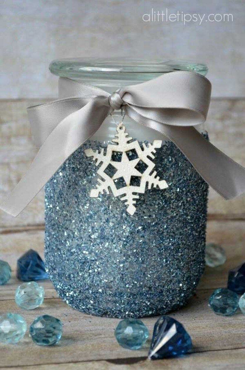 Icy Crystal Blue Candle Decor
