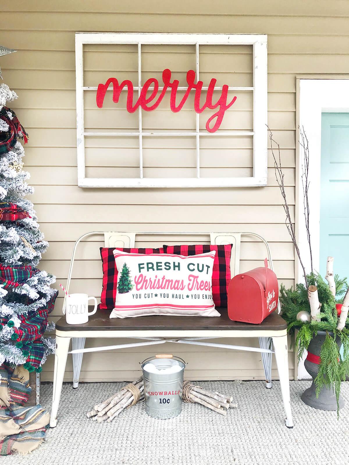 Warm Farmhouse Style Outdoor Christmas Bench
