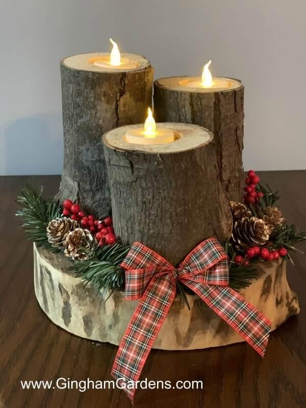 Rustic DIY Woodland Christmas Centerpiece