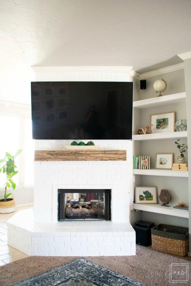 Bright White Minimalist Brick Fireplace Makeover